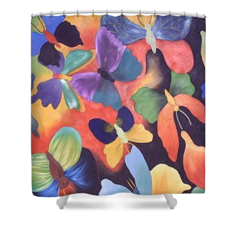 Butterfly Painting With Focus On Colors Shower Curtain featuring the painting Butterfly Painting by M Brandl