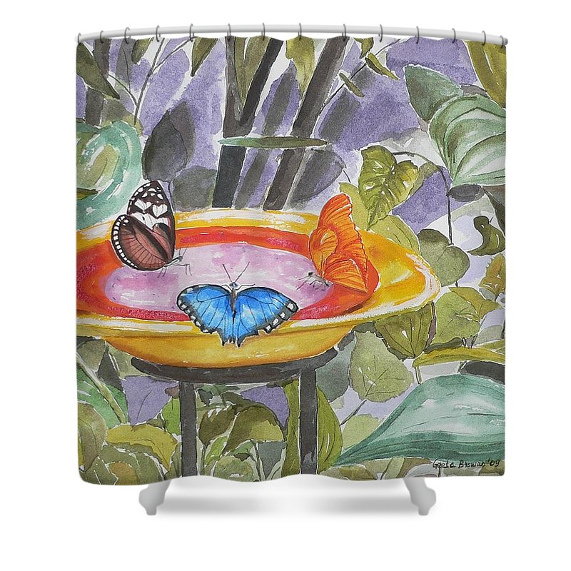 Butterflies Shower Curtain featuring the painting Butterfly Sanctuary At Niagara Falls by Geeta Biswas