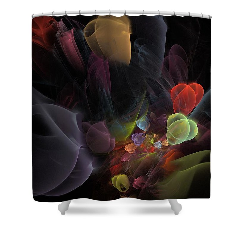 Fantasy Shower Curtain featuring the digital art Butterfly Tea - Fractal Art by NirvanaBlues