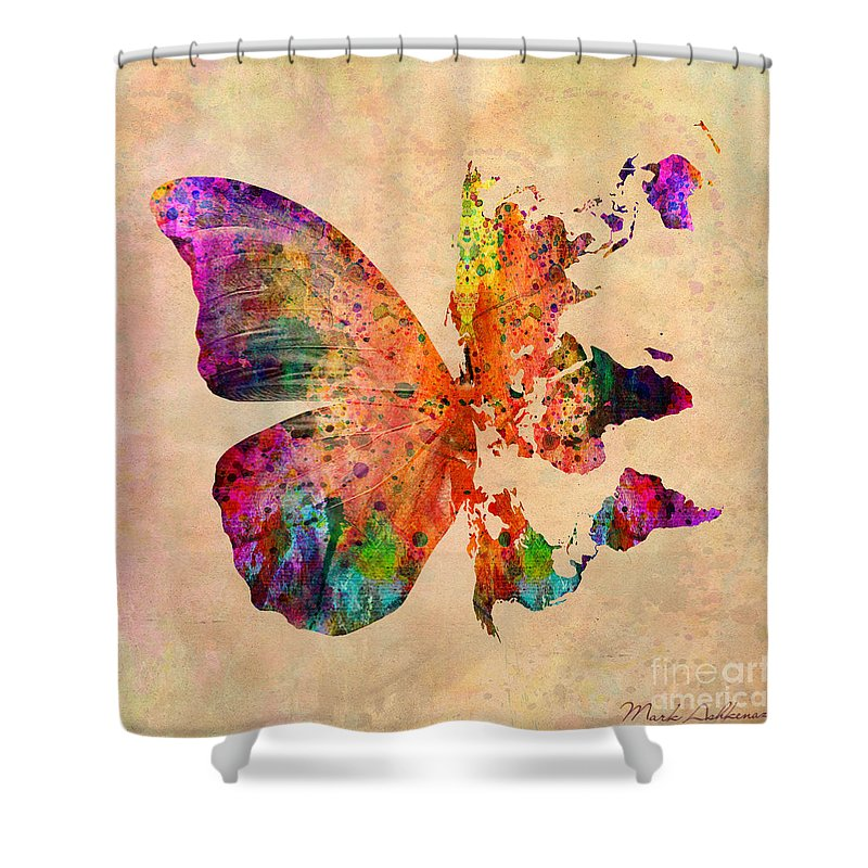 Butterfly Shower Curtain featuring the digital art Butterfly World Map by Mark Ashkenazi