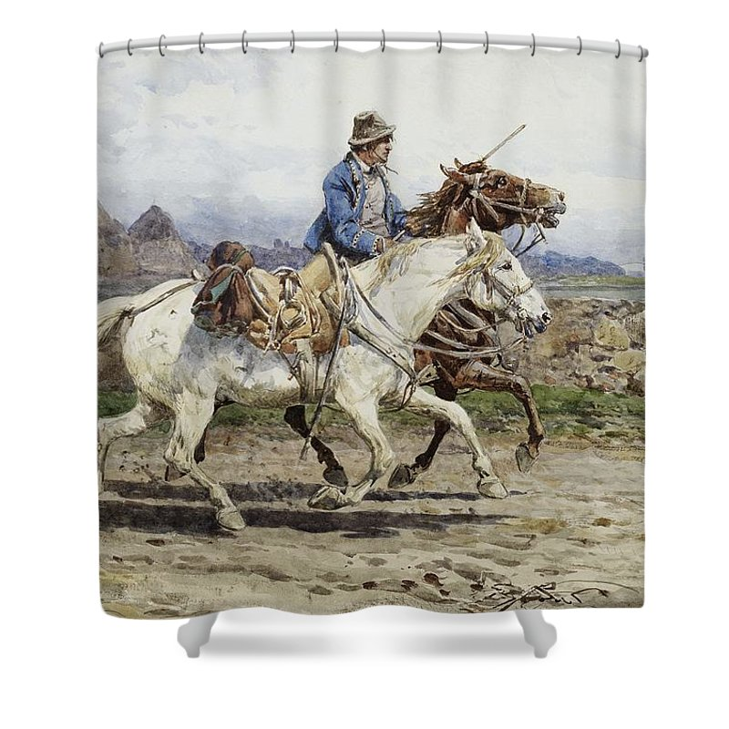 Buttero Riding In The Roman Campagna Shower Curtain featuring the painting Buttero Riding In The Roman Campagna by Celestial Images