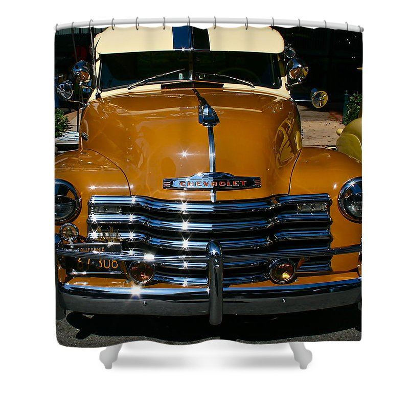 Photograph Of Chevrolet Shower Curtain featuring the photograph Butterscotch by Gwyn Newcombe