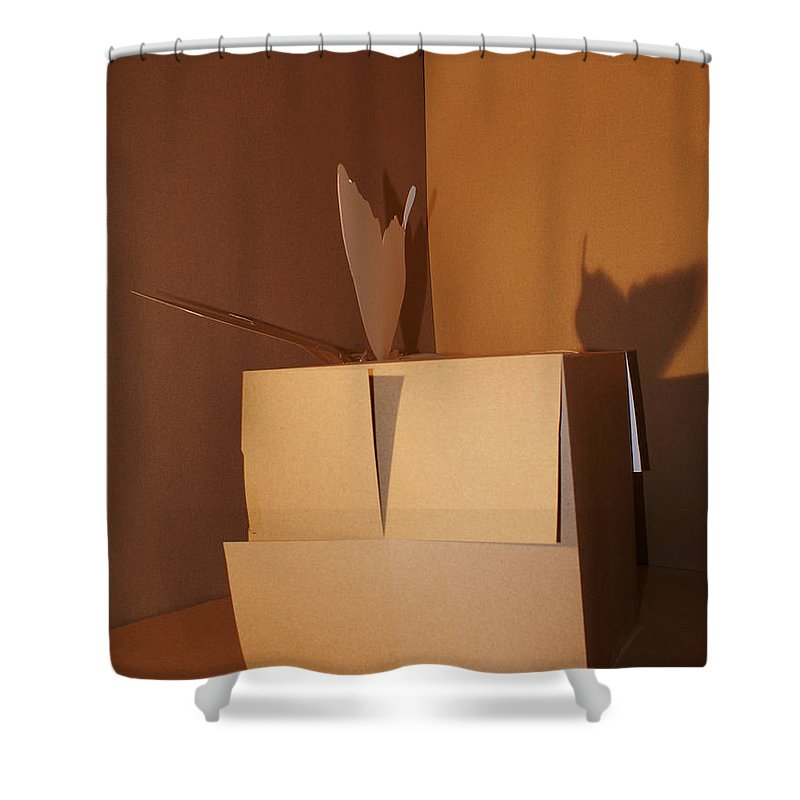Mr Roboman Shower Curtain featuring the sculpture Butteryfly 1 by Mr ROBOMAN
