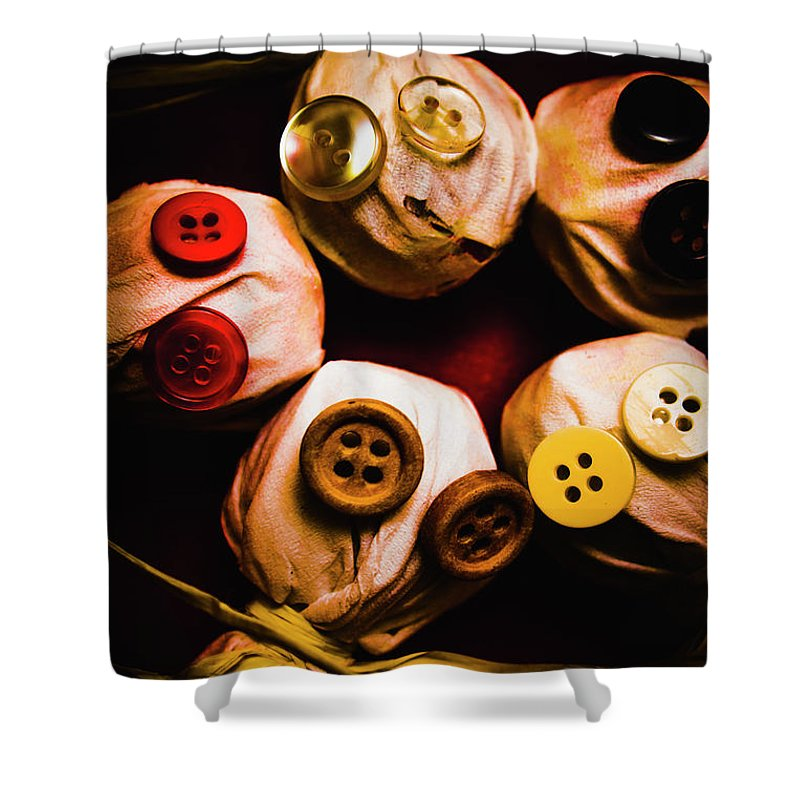 Monster Shower Curtain featuring the photograph Button Sack Lollypop Monsters by Jorgo Photography - Wall Art Gallery