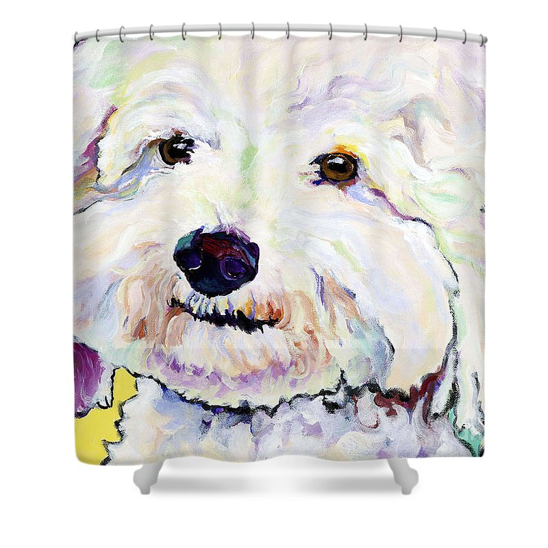 Bischon Shower Curtain featuring the painting Buttons  by Pat Saunders-White