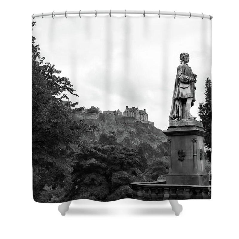 Scotland Shower Curtain featuring the photograph Bw Edinburgh Scotland by Chuck Kuhn