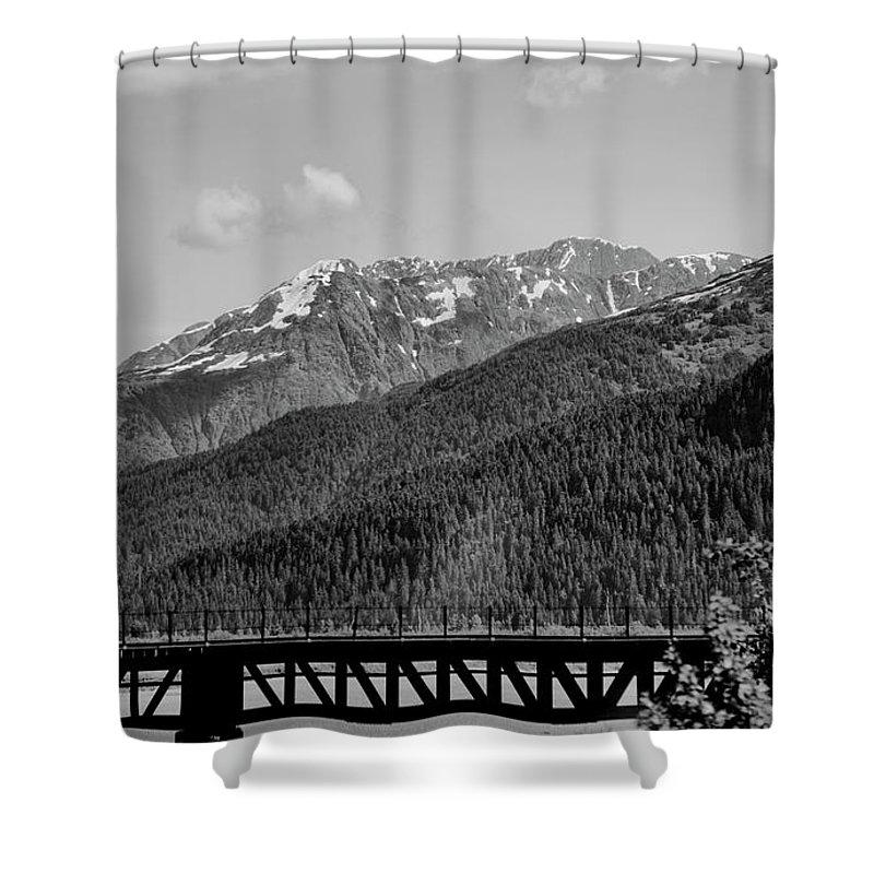 Alaska Shower Curtain featuring the photograph Bw Rail Alaska by Chuck Kuhn