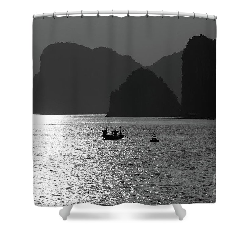 Asia Shower Curtain featuring the photograph Bw Tones Ha Long Bay Vietnam by Chuck Kuhn
