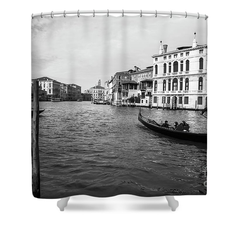 Black And White Venice Shower Curtain featuring the photograph Bw Venice by Yuri San