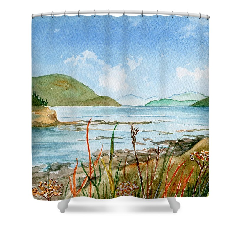 Landscape Shower Curtain featuring the painting By The Bay by Brenda Owen