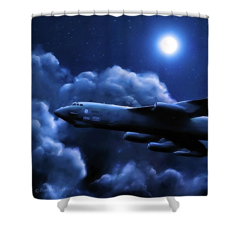 B-52 Stratofortress Bomber Shower Curtain featuring the painting By The Light Of The Blue Moon by Dave Luebbert