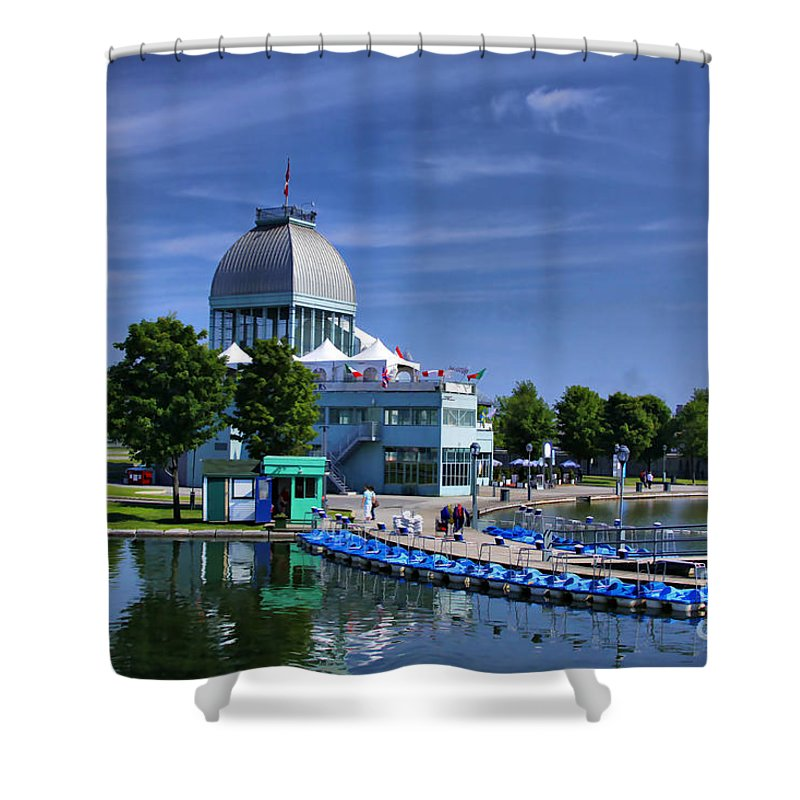 Montreal Shower Curtain featuring the photograph By The Port Montreal by Deborah Benoit