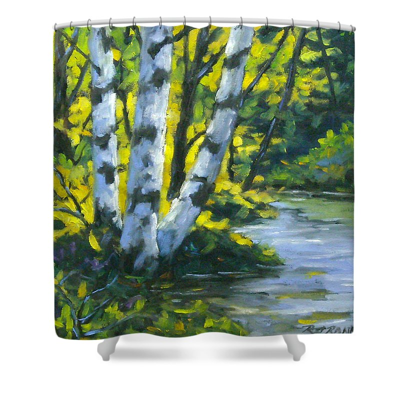 Art Shower Curtain featuring the painting By The River by Richard T Pranke