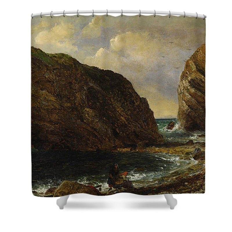 Jasper Francis Cropsey Shower Curtain featuring the painting By The Sea by MotionAge Designs