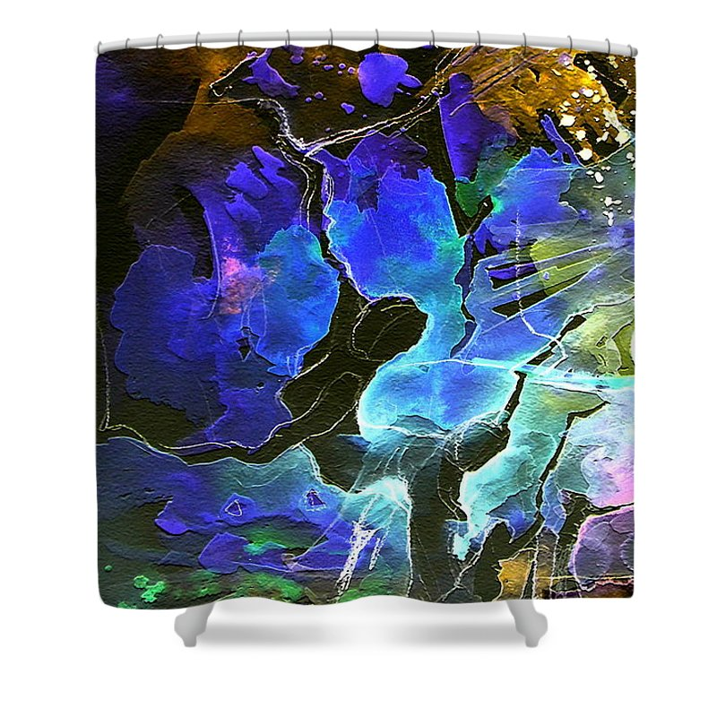 Miki Shower Curtain featuring the painting Bye by Miki De Goodaboom