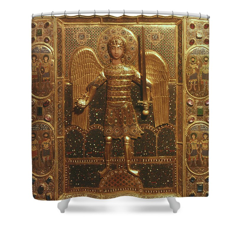 Art Shower Curtain featuring the photograph Byzantine Art: St. Michael by Granger