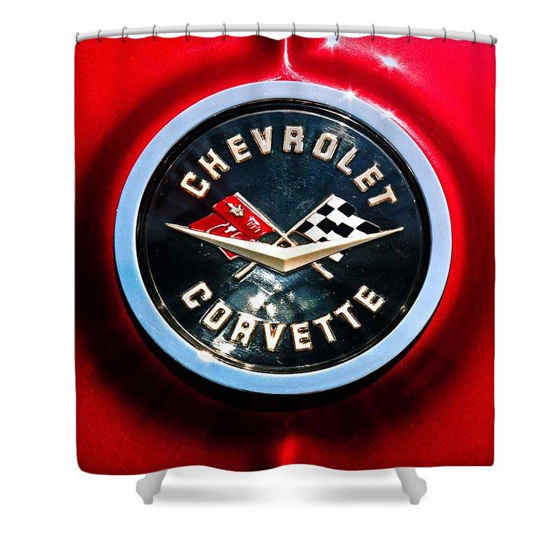 Corvette Shower Curtain featuring the photograph C2 Corvette Logo by Scott Wyatt