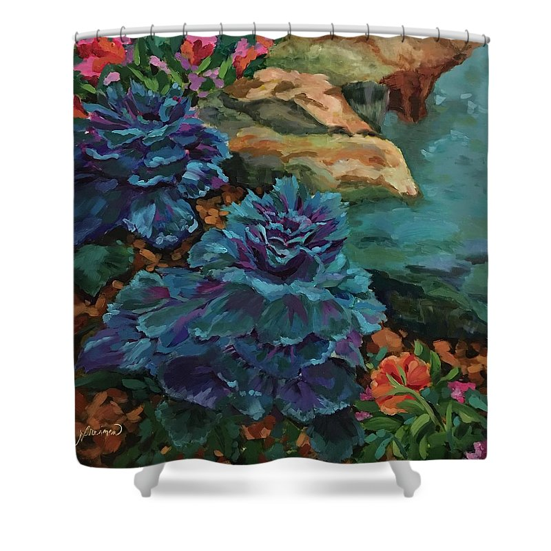 Fall Shower Curtain featuring the painting Cabbage Patch by Nancy Breiman