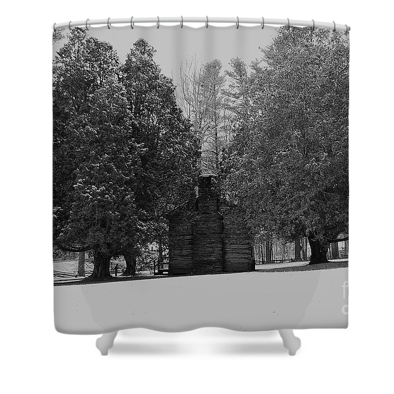 Snow Shower Curtain featuring the photograph Cabin Between The Cedars by Eric Liller