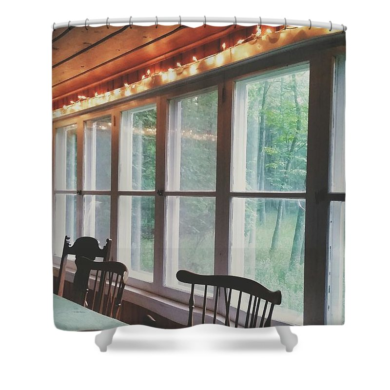 Cabin Shower Curtain featuring the photograph Cabin In The Woods by Nikki Watson  McInnes