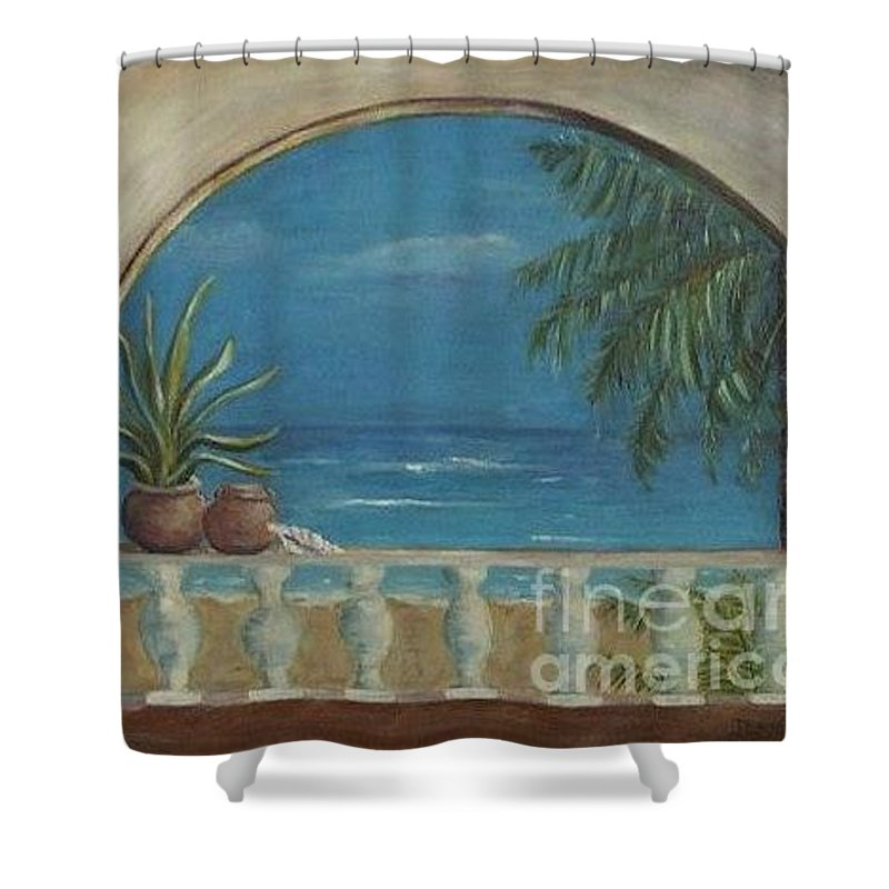 Landscape Shower Curtain featuring the painting Cabo Arch by Jeanie Watson