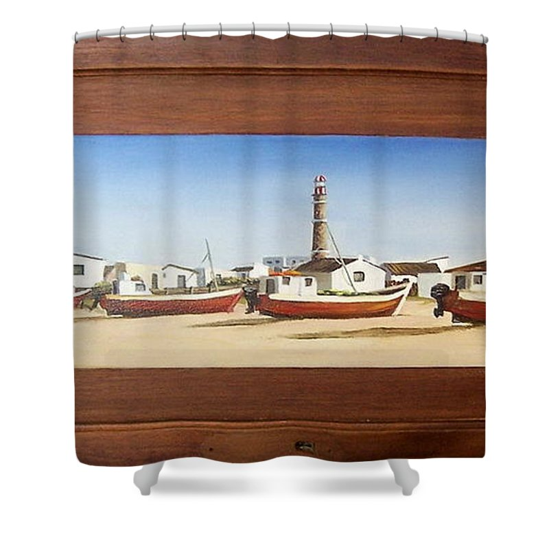 Landscape Seascape Uruguay Beach Boats Sea Lighthouse Shower Curtain featuring the painting Cabo Polonio 2 by Natalia Tejera