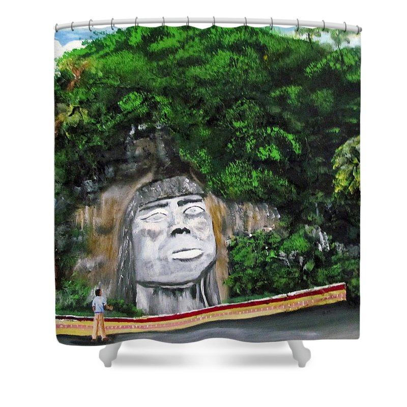 Cacique Mabodomaca Shower Curtain featuring the painting Cacique Mabodomaca by Luis F Rodriguez