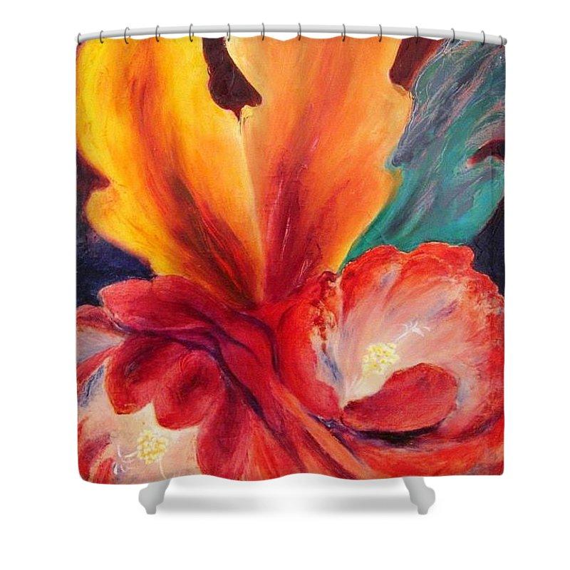 Cactus Shower Curtain featuring the painting Cactus Bloom by Margarita Zuniga