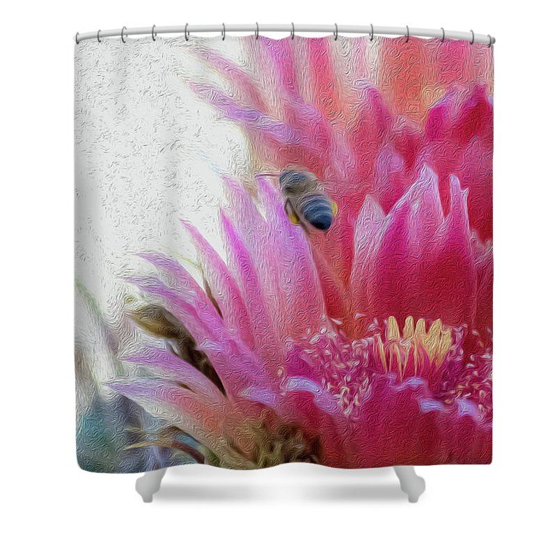 Cactus Flower Shower Curtain featuring the photograph Cactus Flower And A Busy Bee by Amy Sorvillo