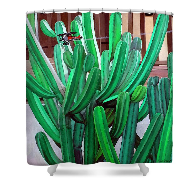 Landscape Shower Curtain featuring the painting Cactus Fly By by Snake Jagger