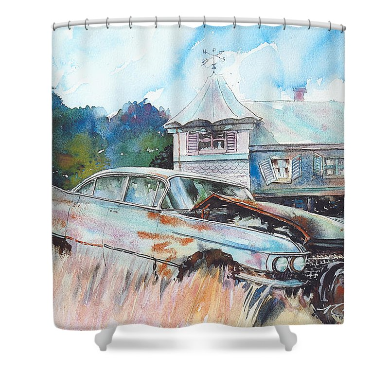 Cadillac Shower Curtain featuring the painting Caddy Sliding Down the Slope by Ron Morrison