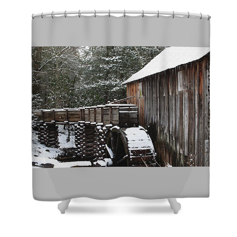Smoky Mountains Shower Curtain featuring the photograph Cades Cove Mill II by Margie Wildblood