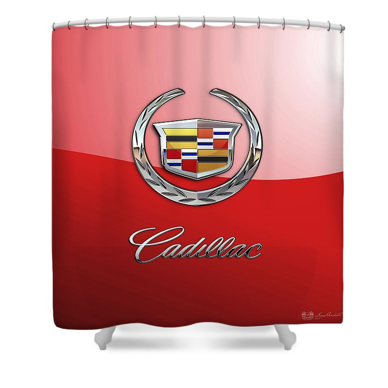 �wheels Of Fortune� Collection By Serge Averbukh Shower Curtain featuring the photograph Cadillac - 3 D Badge on Red by Serge Averbukh