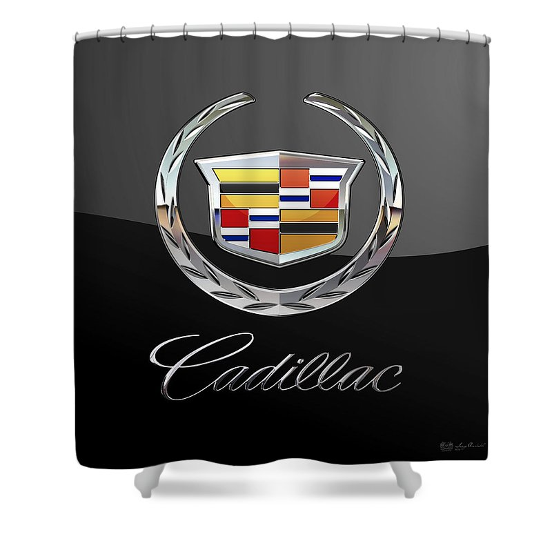 'wheels Of Fortune' By Serge Averbukh Shower Curtain featuring the photograph Cadillac - 3 D Badge On Black by Serge Averbukh