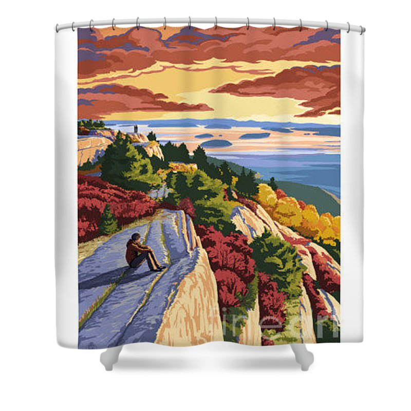 Nostalgic Shower Curtain featuring the painting Cadillac Mountain by Nostalgic Prints