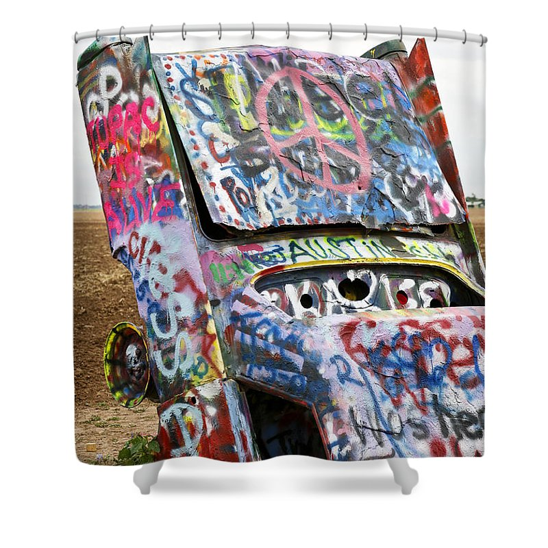 Americana Shower Curtain featuring the photograph Cadillac Ranch by Marilyn Hunt
