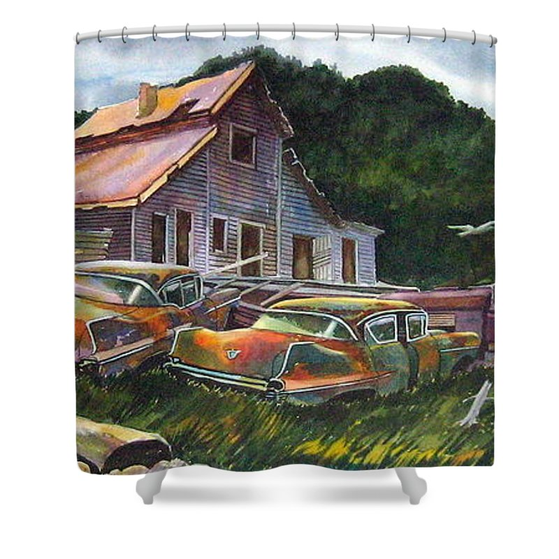 Cadillacs Shower Curtain featuring the painting Cadillac Ranch by Ron Morrison
