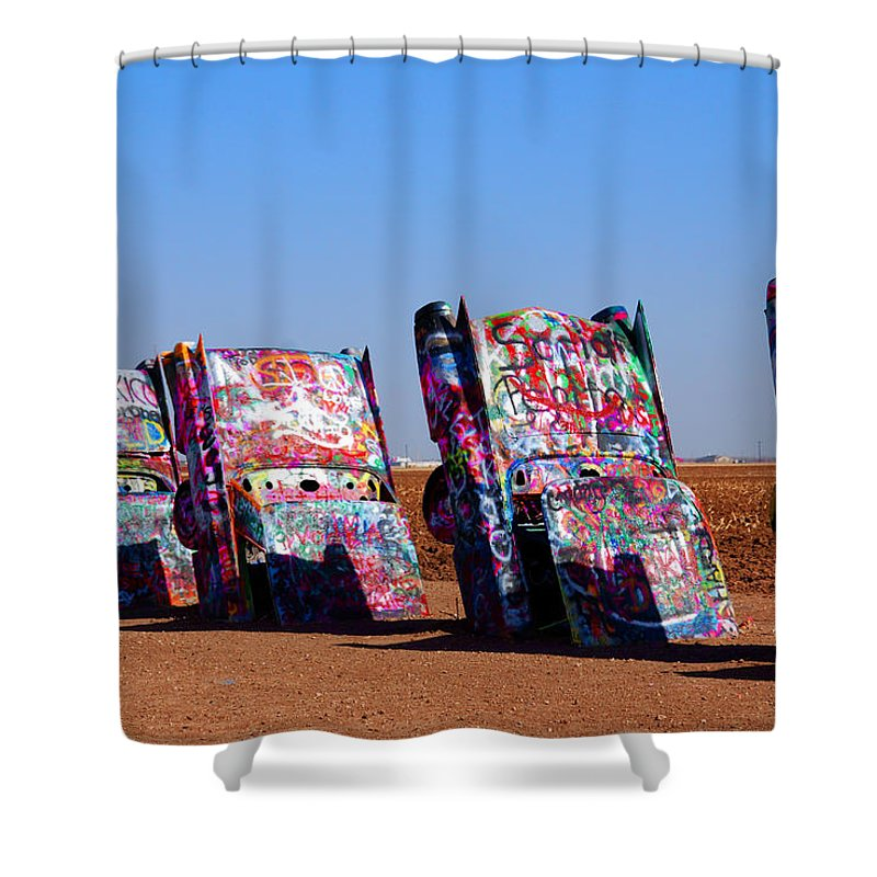 Photography Shower Curtain featuring the photograph Cadillac Ranch by Susanne Van Hulst
