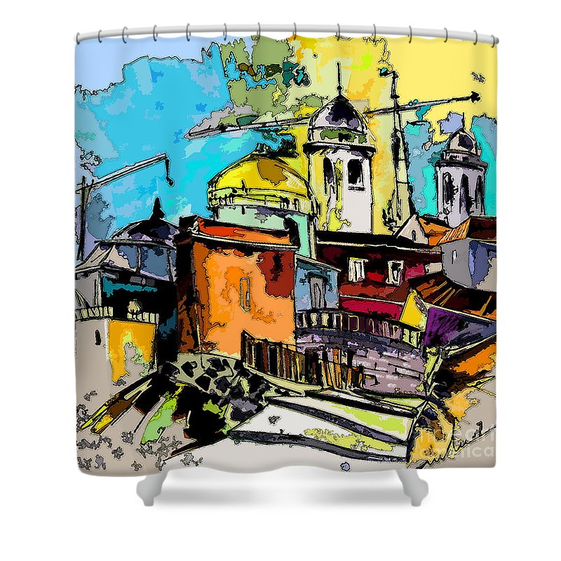 Spain Painting Cadiz Andalusia Shower Curtain featuring the painting Cadiz Spain 02 Bis by Miki De Goodaboom