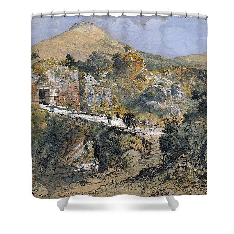 Sky Shower Curtain featuring the painting Caesarea Philippi Banias by Harry Fenn