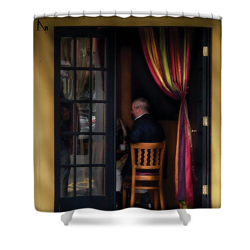 Savad Shower Curtain featuring the photograph Cafe - Brunch by Mike Savad