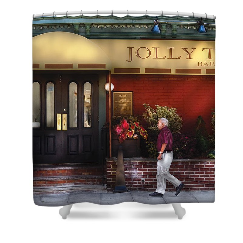 Savad Shower Curtain featuring the photograph Cafe - Jolly Trolley by Mike Savad