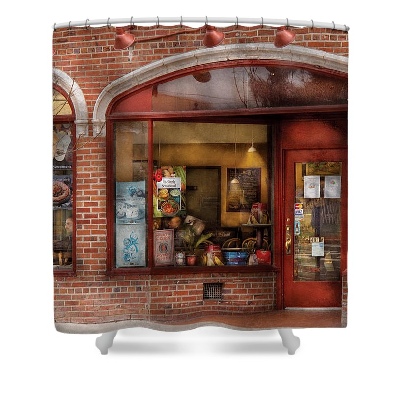 Cafe Shower Curtain featuring the photograph Cafe - Westfield Nj - Tutti Baci Cafe by Mike Savad