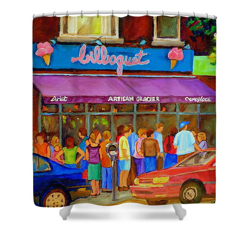 Cafe Bilboquet Shower Curtain featuring the painting Cafe Bilboquet Ice Cream Delight by Carole Spandau