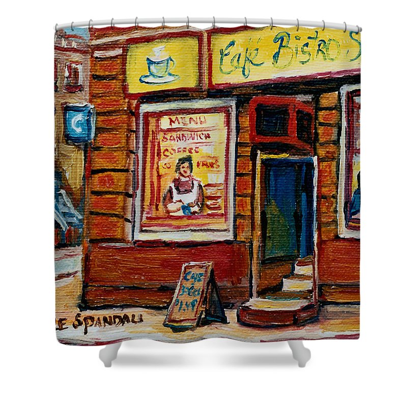 Cafe Bistro St.viateur Shower Curtain featuring the painting Cafe Bistro St. Viateur by Carole Spandau