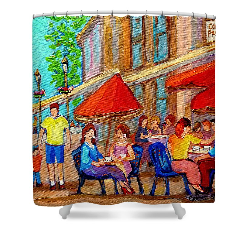 Cafescene Shower Curtain featuring the painting Cafe Casa Grecque Prince Arthur by Carole Spandau
