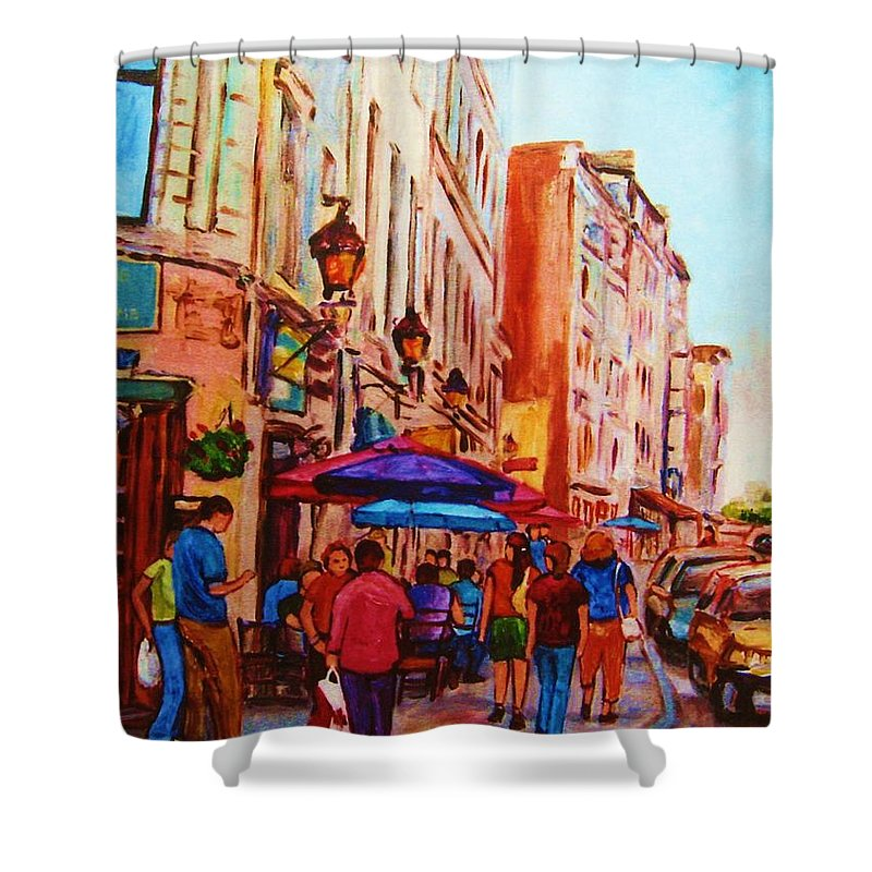 Montreal Shower Curtain featuring the painting Cafe Creme by Carole Spandau