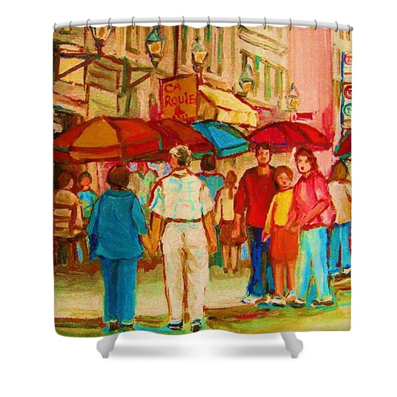 Cafe Scenes Shower Curtain featuring the painting Cafe Crowds by Carole Spandau