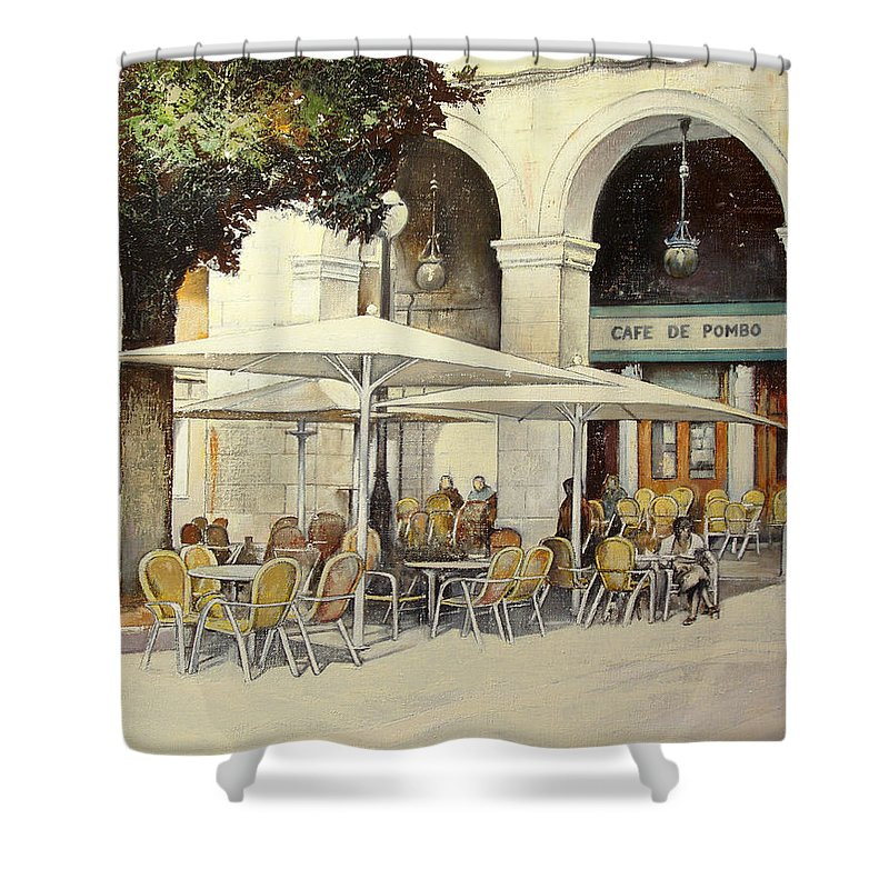 Cafe Shower Curtain featuring the painting Cafe de Pombo-Santander by Tomas Castano