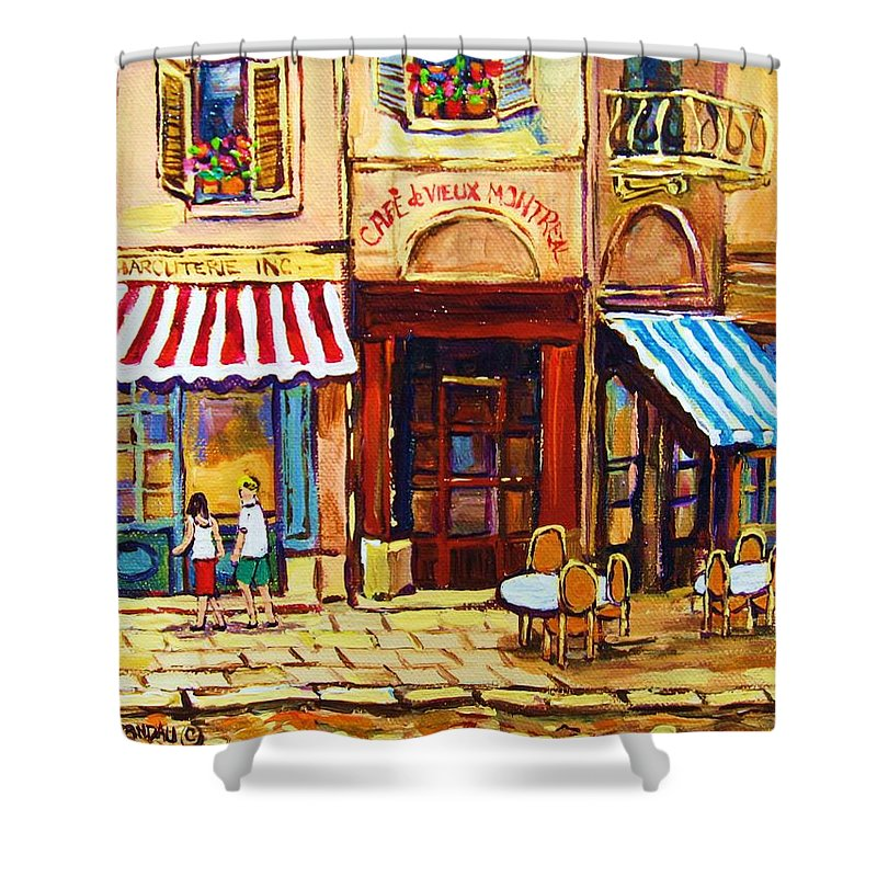 Old Montreal Outdoor Cafe City Scenes Shower Curtain featuring the painting Cafe De Vieux Montreal With Couple by Carole Spandau